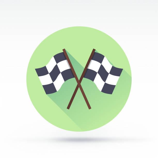 Race Icon Flat style with long shadows, finishing flag vector icon finishing stock illustrations