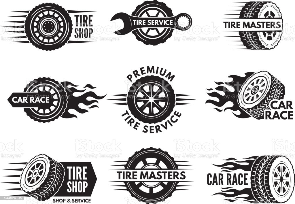 Race Logos With Pictures Of Different Cars Wheels Stock Illustration Download Image Now Istock