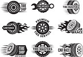 Race logos with pictures of different cars wheels. Vector car automobile wheel logo, auto tire service illustration