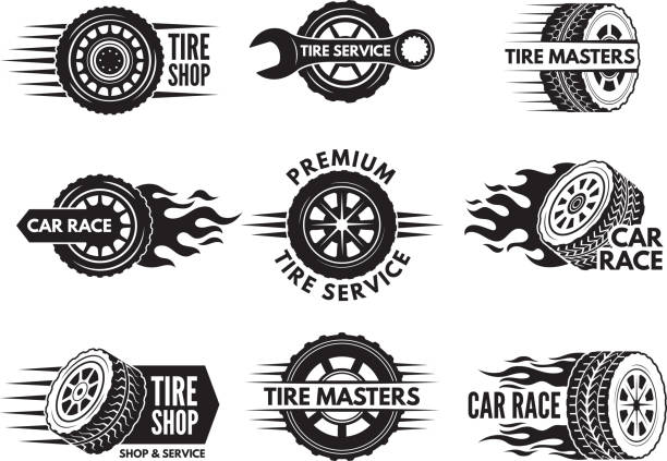 Race logos with pictures of different cars wheels Race logos with pictures of different cars wheels. Vector car automobile wheel logo, auto tire service illustration tire vehicle part stock illustrations