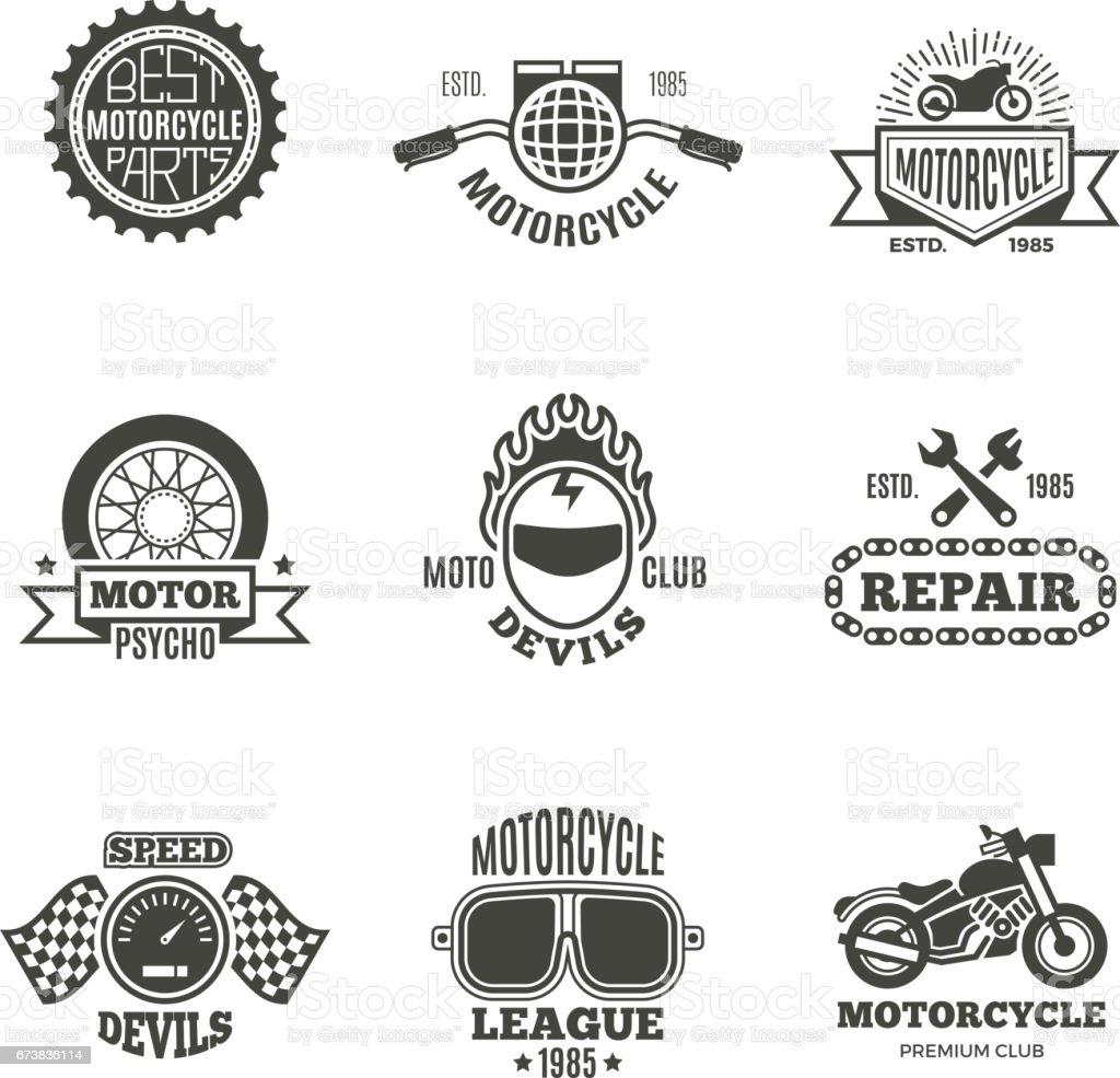 Race, motorcycle, motorbike repair vector retro labels, logo, badges and emblems vector art illustration