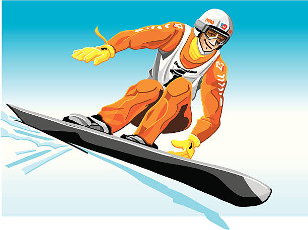 """Race Snowboarder Orange """"Vector Illustration of a race snowboarder with a orange suit. The background is on a separate layer, so you can use the illustration on your own background. The colors in the .eps and .ai-files are ready for print (CMYK). Included files: EPS (v8), AI (CS2) and Hi-Res JPG."""" winter sport stock illustrations"""