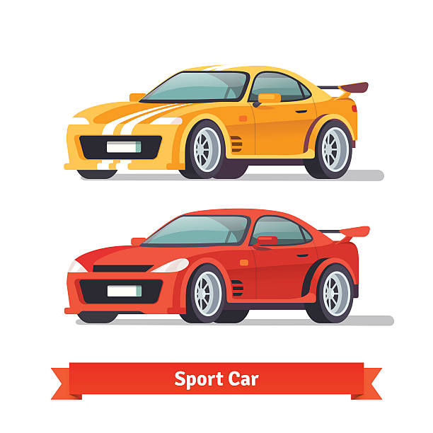 Race sport car. Supercar tuning Race sport car. Supercar tuning. Flat style vector illustration isolated on white background. sports car stock illustrations