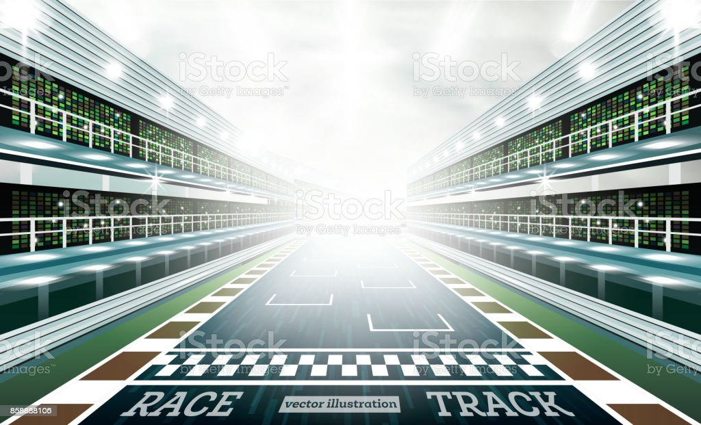 Race Track Arena with Spotlights and Finish Line. vector art illustration