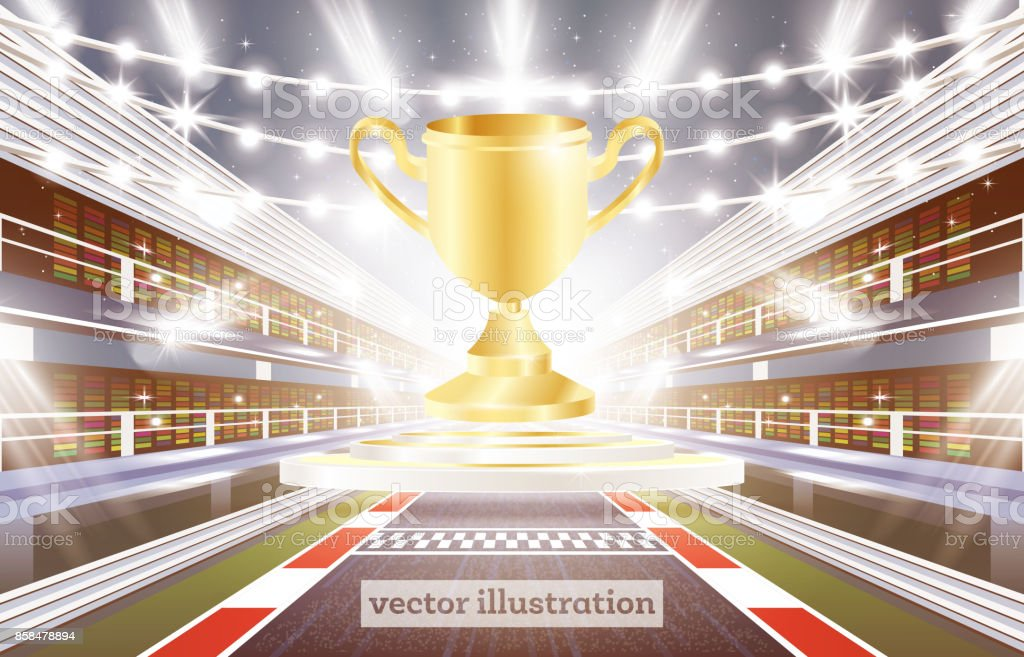 Race Track Arena with Spotlights, Finish Line and Golden Cup. vector art illustration