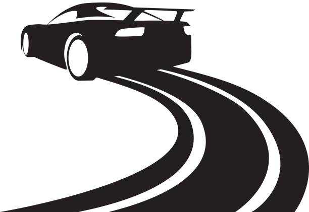 race track car graphic black silhouette Vector illustration of a car sliding or drifting on a white background, snowdrift stock illustrations