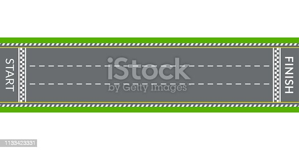 Race track or Rally road with start line and finish line. Top view. Vector illustration.