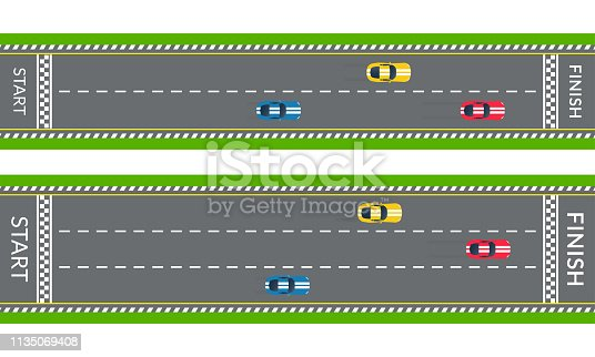 Race track with sport cars. Top view. Rally road with start line and finish line. Vector illustration.