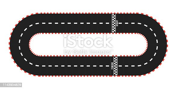 Race track road set with start and finish line. top view. Vector illustration