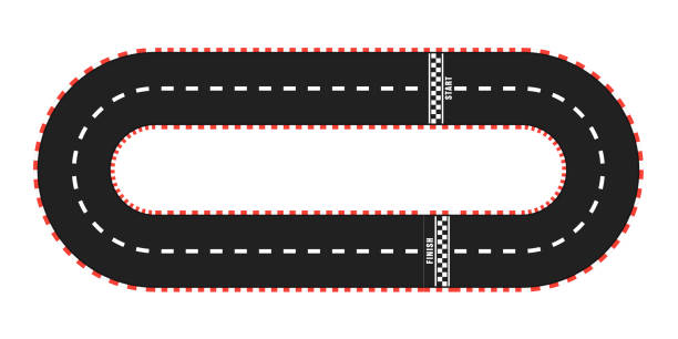 race track with start and finish line. top view - formula 1 stock illustrations