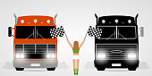 Race trucks and girl with checkered flags