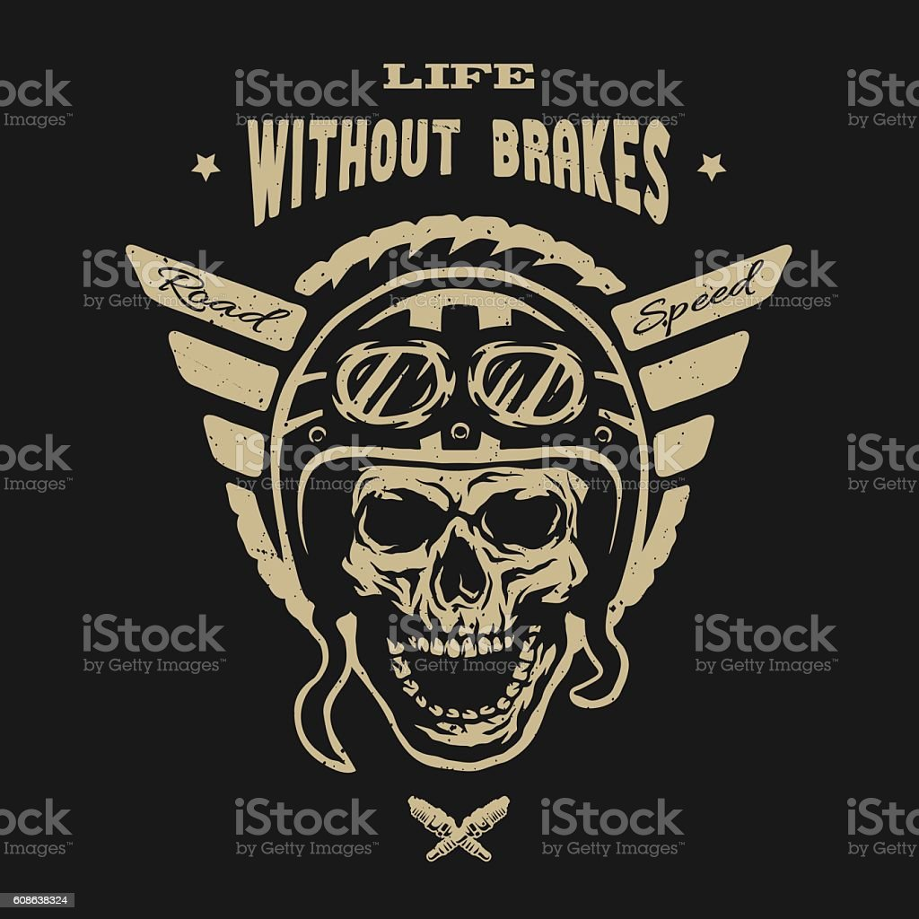Racer skull in helmet, vintage style. vector art illustration