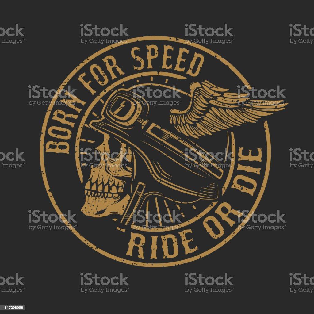 racer skull in winged helmet isolated on dark background. Design element for emblem, poster, t-shirt. Vector illustration vector art illustration
