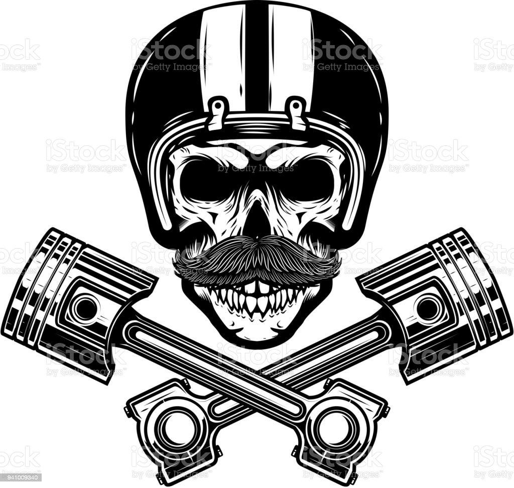 Ilustración de Cráneo De Racer Con Pistones Cruzados Elemento De ...
