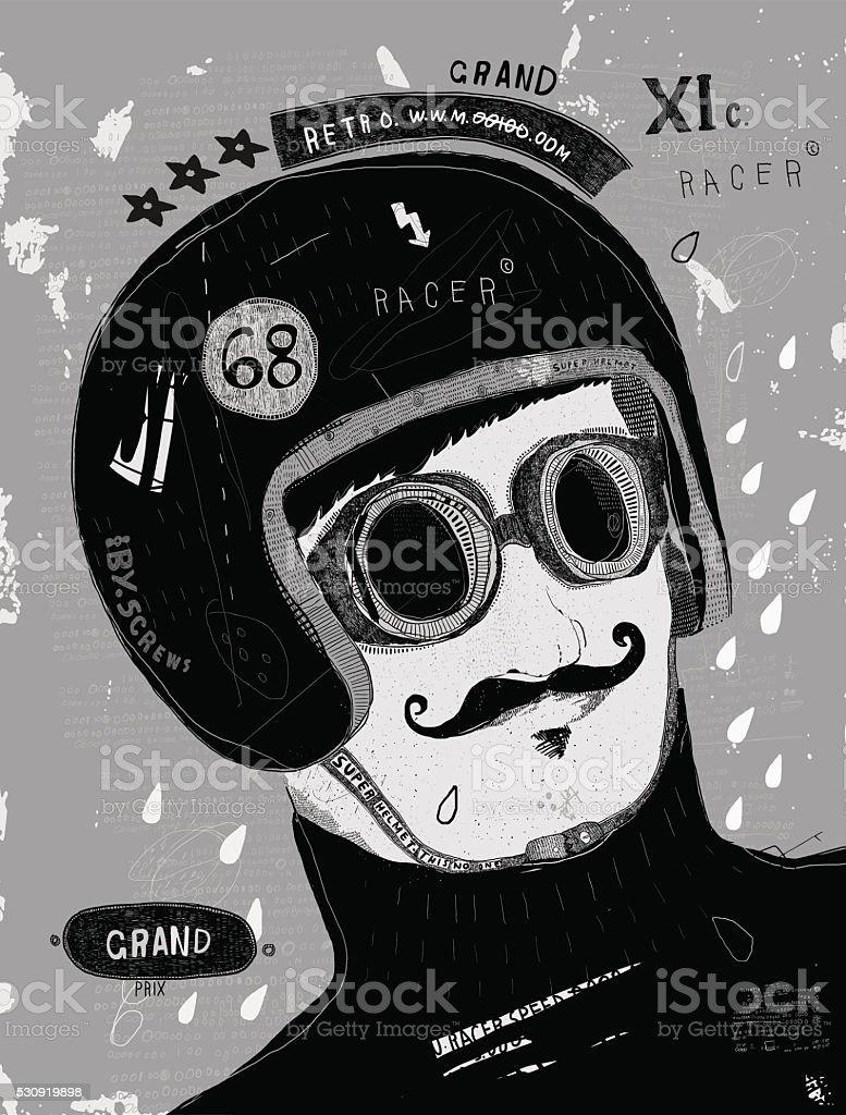 Racer vector art illustration