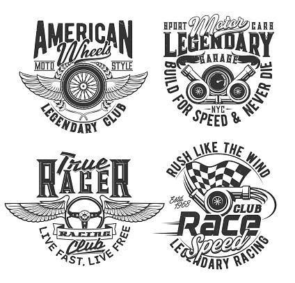 Races club t-shirt prints, speed wheel and wings