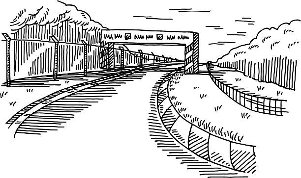 Racetrack Landscape Drawing Hand-drawn vector drawing of a Racetrack Landscape. Black-and-White sketch on a transparent background (.eps-file). Included files are EPS (v10) and Hi-Res JPG. motor sport stock illustrations