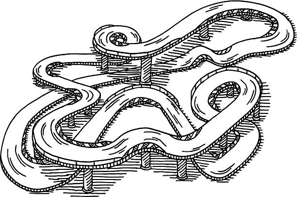 Racetrack Toy Drawing Hand-drawn vector drawing of a Racetrack Toy. Black-and-White sketch on a transparent background (.eps-file). Included files are EPS (v10) and Hi-Res JPG. motor sport stock illustrations