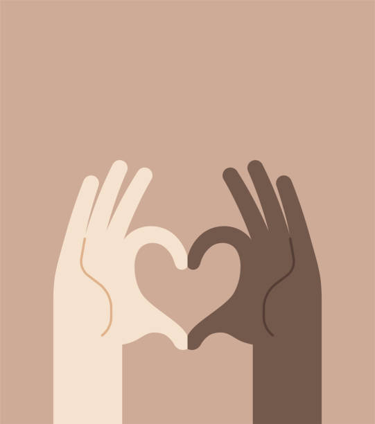 Racial Discrimination Protest Hand Heart Shape Sign Tolerance Concept vector art illustration