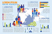 Racial Equality, Anti Discrimination and Human Rights Infographic Set. Diverse Ethnicity People Cartoon Characters on Globe Background among Graphs. Presentation Kit. Flat Vector Illustration.