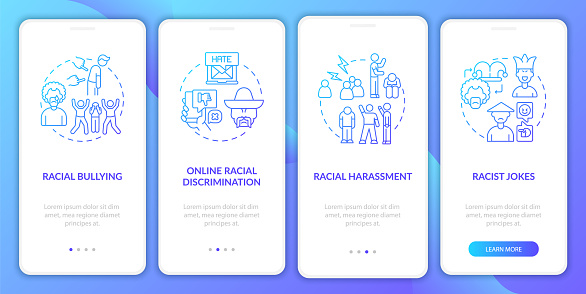Racial inequality onboarding mobile app page screen