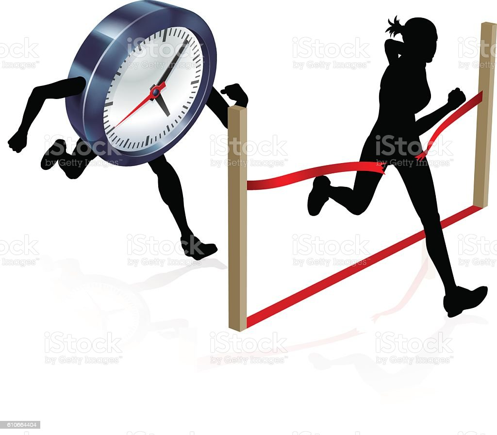 Racing Against the Clock vector art illustration