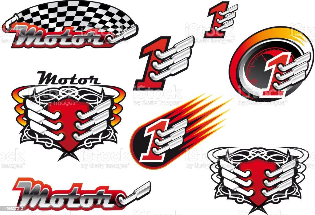 Racing and motocross emblems or symbols vector art illustration