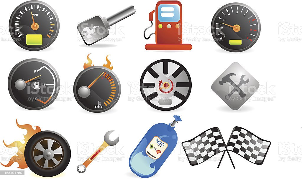 Racing and Speed icons vector art illustration