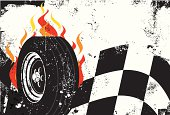 A race car tire in front of flames and a checkered flag over a grunge background. The artwork extends outside the square clipping mask. To edit, select the artwork and go to OBJECT-> CLIPPING MASK-> EDIT CONTENTS or RELEASE.