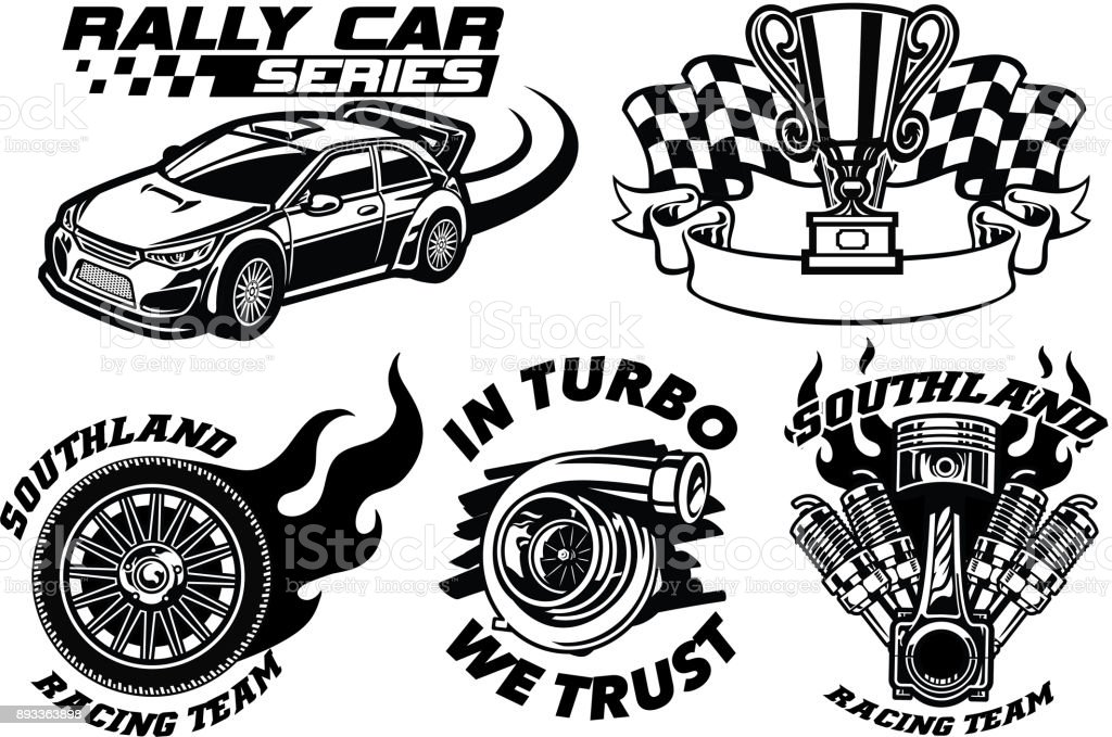 Racing Badge design set vector art illustration