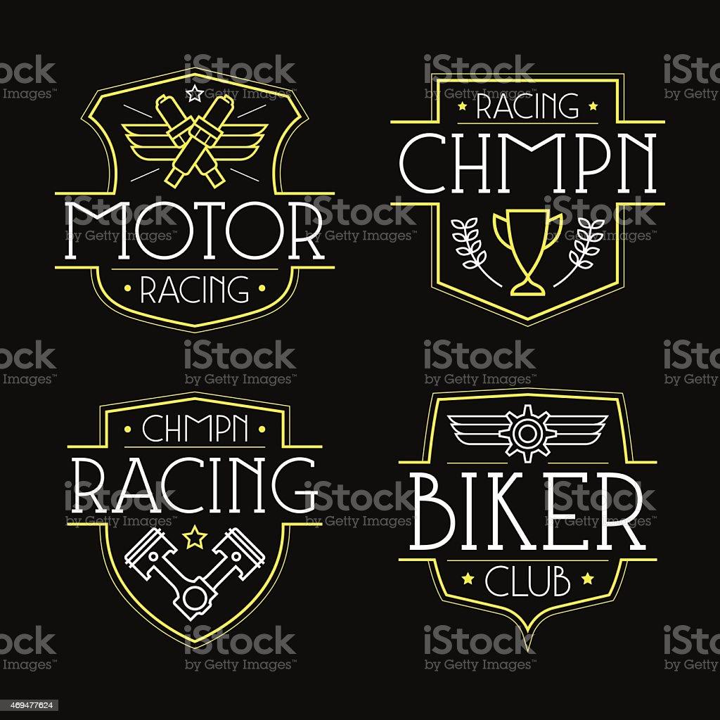 Racing badges for t-shirt vector art illustration