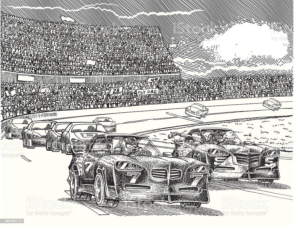 Racing Battle vector art illustration
