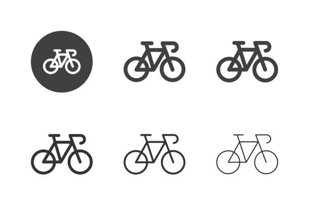 illustrazioni stock, clip art, cartoni animati e icone di tendenza di icone delle biciclette da corsa - serie multi - ciclismo