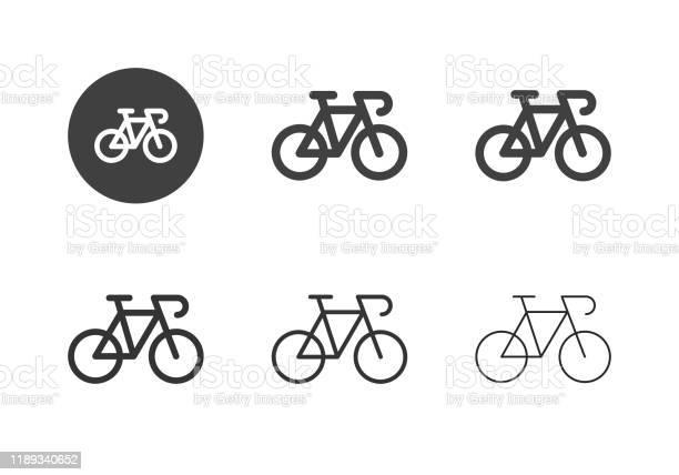 Racing Bicycle Icons Multi Series - Arte vetorial de stock e mais imagens de A caminho