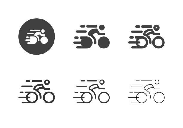 Racing Bicycle Icons - Multi Series vector art illustration