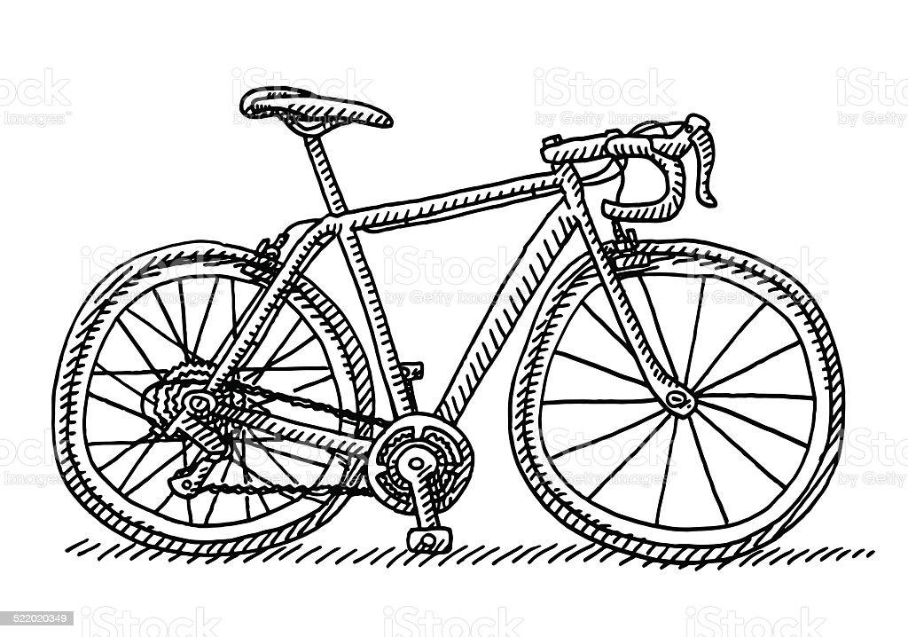 Rennrad Seitenansicht Zeichnung Stock Vektor Art und mehr Bilder von ...
