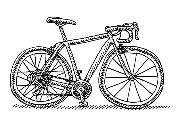 Racing Bicycle Side View Drawing Hand-drawn vector drawing of a Racing Bicycle, Side View. Black-and-White sketch on a transparent background (.eps-file). Included files are EPS (v10) and Hi-Res JPG. cycling stock illustrations