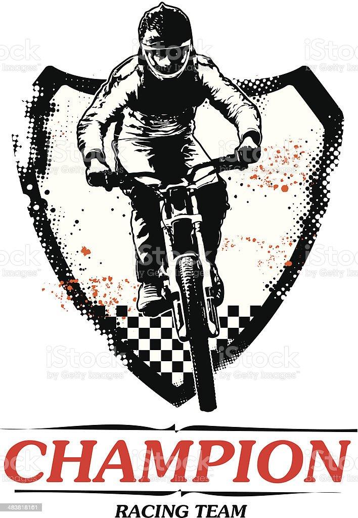 racing bike with grunge shield vector art illustration