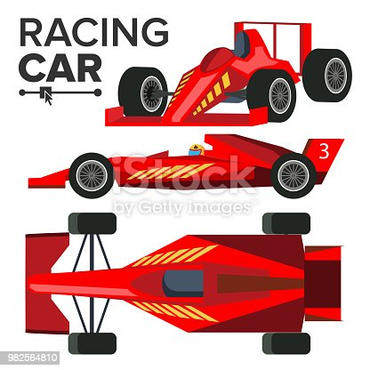 Racing Car Bolid Vector. Sport Red Racing Car. Front, Side, Back View. Auto Illustration