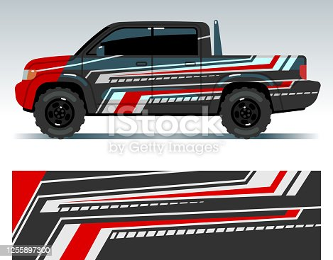 istock Racing car design. Vehicle wrap vinyl graphics with stripes vector illustration 1255897300