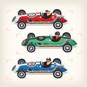 Racing cars on start