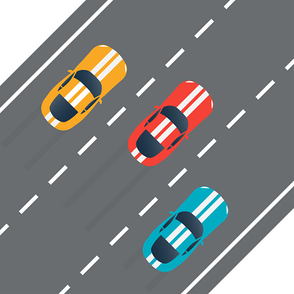 Racing cars on the rally track. Top view. Sport vehicles on the road. Vector illustration.