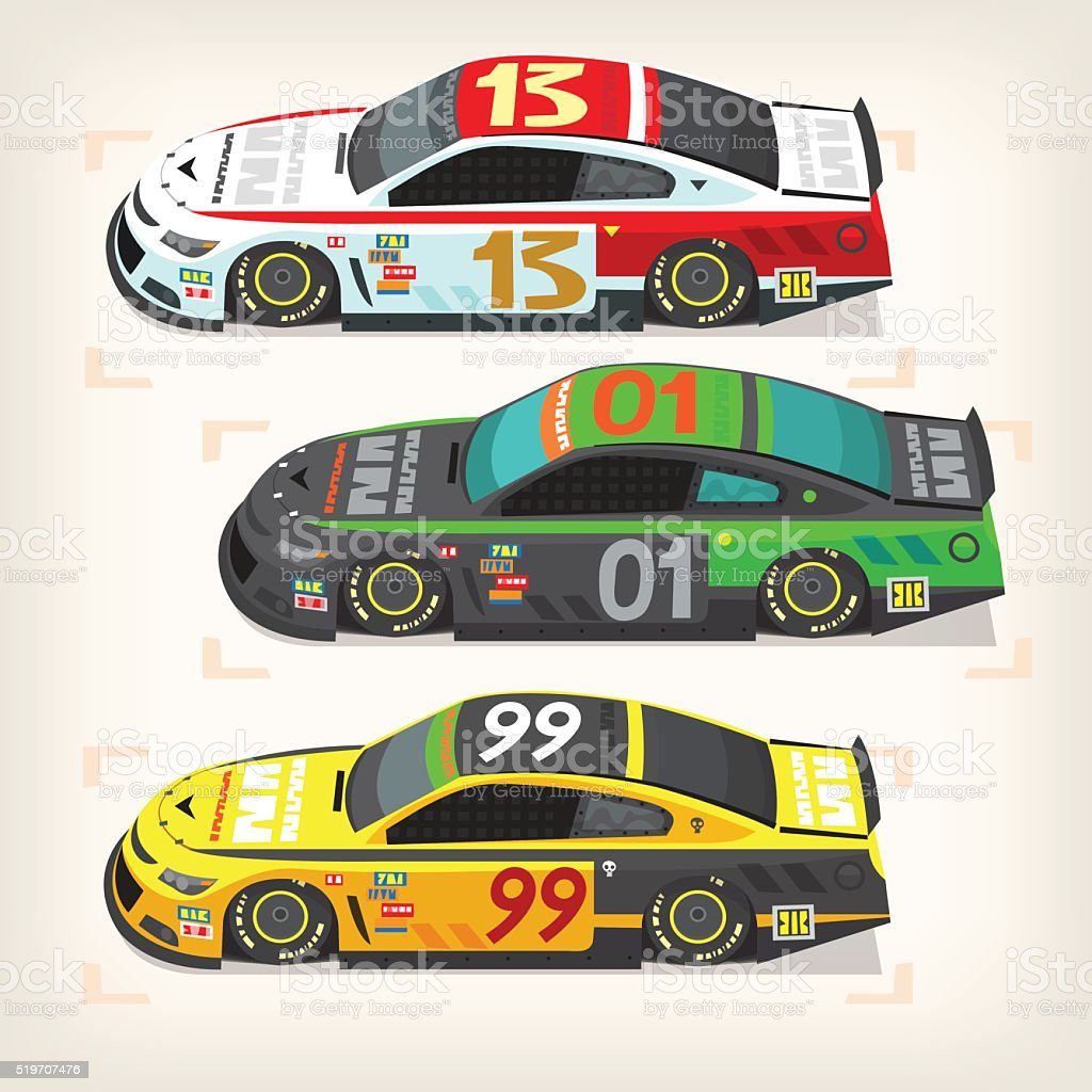 Racing cars vector art illustration
