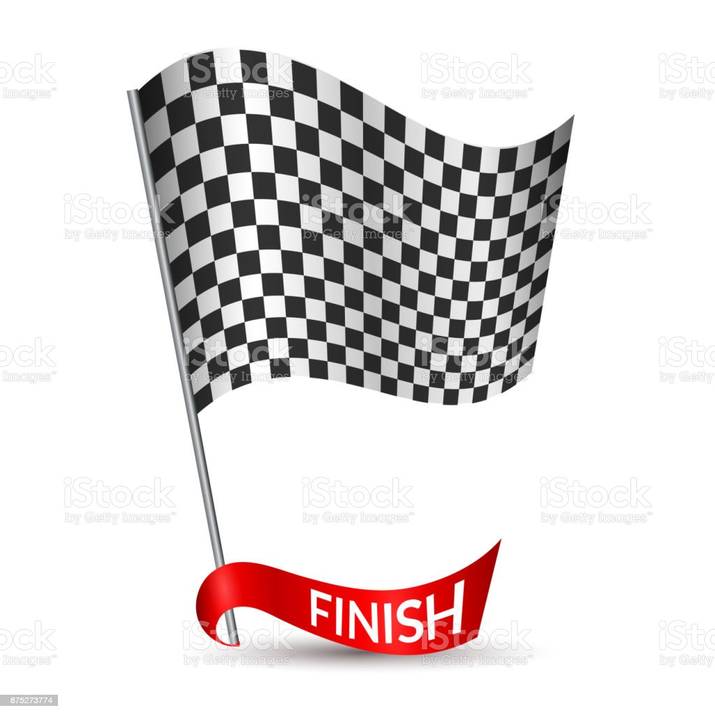 Racing checkered flag with red ribbon and inscription Finish Vector vector art illustration