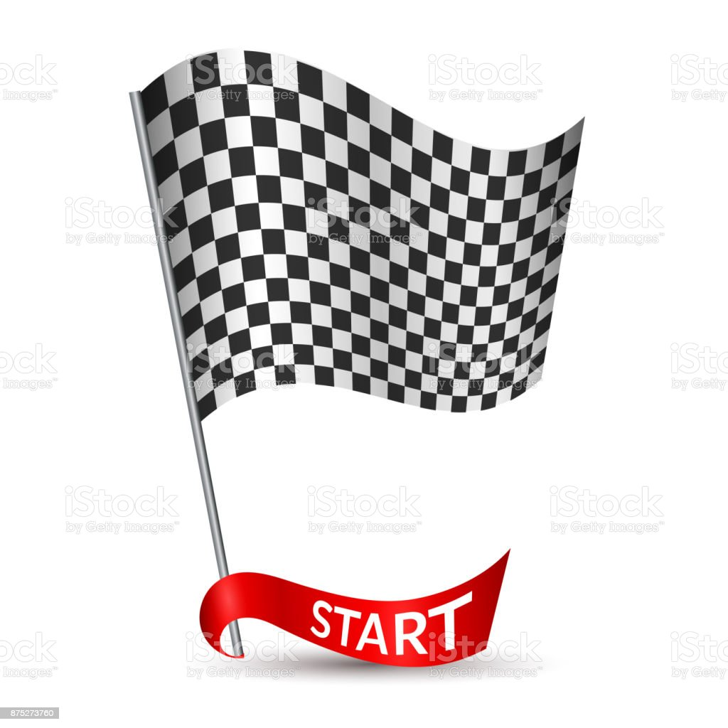 Racing checkered flag with red ribbon and inscription Start Vector vector art illustration