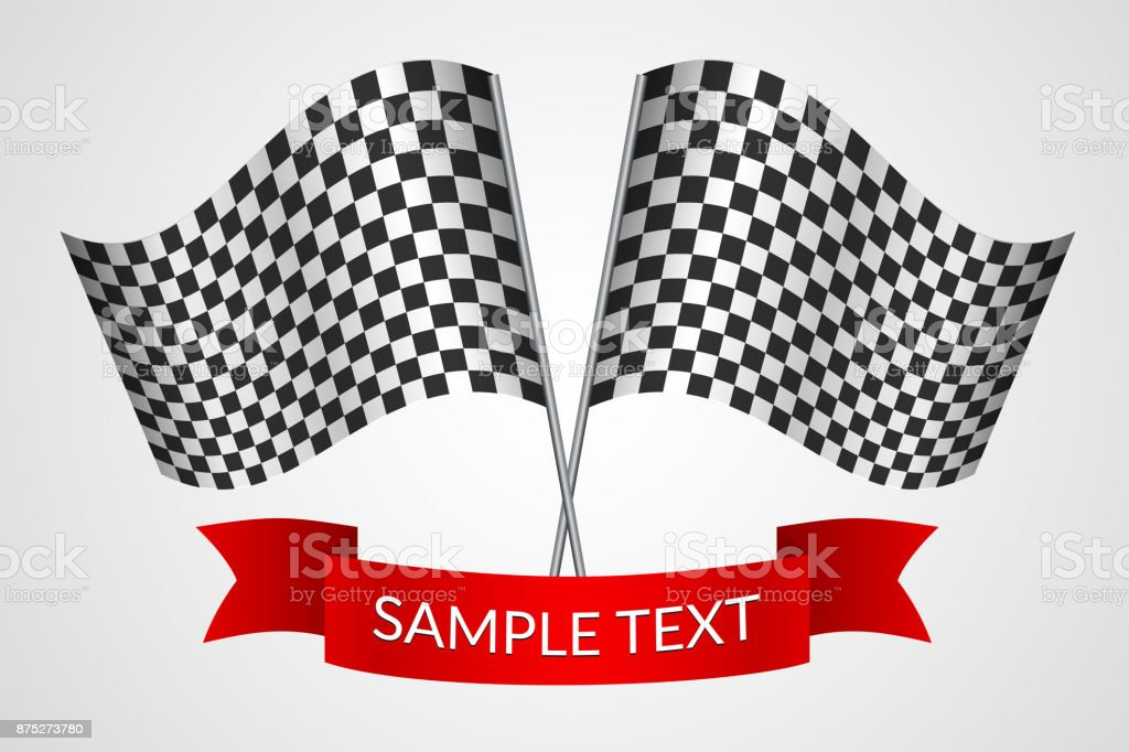 Racing checkered flags with a red ribbon Vector vector art illustration