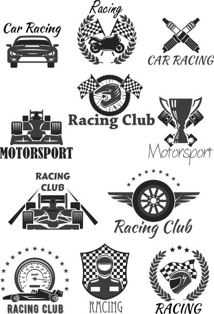 Racing club and motorsport isolated symbol set Racing club and motorsport isolated symbol set. Racing car, motorcycle, champion trophy cup, race flag, wheel, racer helmet, piston, speedometer, spark plug with heraldic wreath, star and wing auto racing stock illustrations
