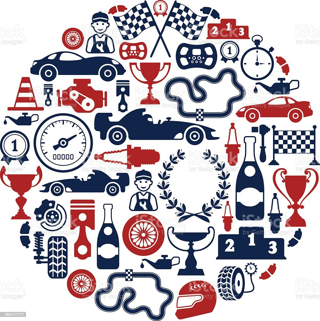 Racing Collage vector art illustration