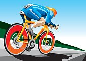 Illustration of a racing cyclist. The background is on a separate layer, so you can use the illustration on your own background. The colors in the .eps and .ai-files are ready for print (CMYK). Included files: EPS (v8), AI (CS2) and Hi-Res JPG.