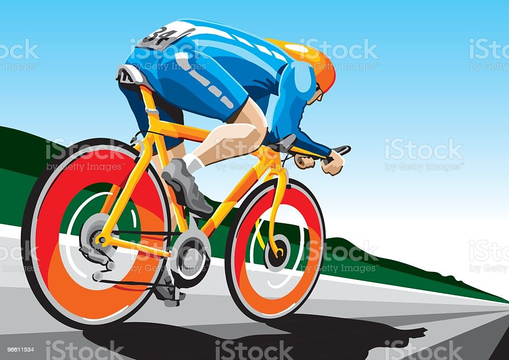 Racing Cyclist Hi-Speed vector art illustration